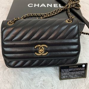 Chanel Chevron Quilted Camera case flap bag black